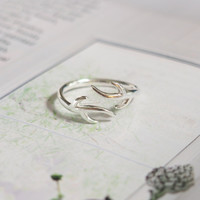 925 Sterling Silver Deer Antlers Open Ended Knuckle Ring - FREE SHIPPING (925スターリングシルバー鹿アントラーズリング)