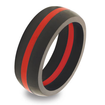 Men's Thin Red Line Silicone Ring