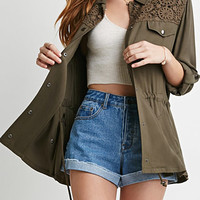 Crochet-Paneled Utility Jacket