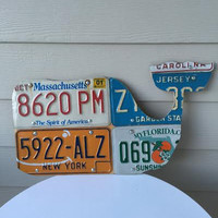 Vineyard Vines Whale, Made from old license plates.