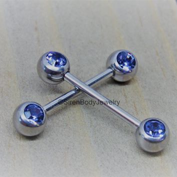 "Double front gem nipple rings 14g purple gemstones stainless steel 5/8"" pair"