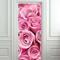 """Wall Door LAMINATED STICKER Pink Roses st. Valentines Day poster, mural, decole, film 30x79"""" (77x200 Cm)"""