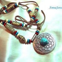 December Birthday Ethnic Leather Necklace Turquoise Pendant, Statement Necklace, Mala Necklace, Tribal Necklace, Boho, Ring Gift