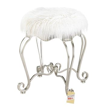 Silver Scrolled Vanity Stool with White Faux Fur