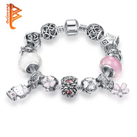 Silver Plated Lovely Hello Kitty Charms Bracelet for Kids Candy Murano Beads Charm Bracelet For Women Jewelry Children Gift