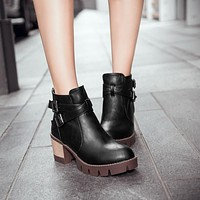 Buckle Zipper Ankle Boots Women Motorcycle Boots Square Heel 3671