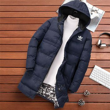 ADIDAS 2018 winter new trend thickening men's cotton coat long down jacket Blue