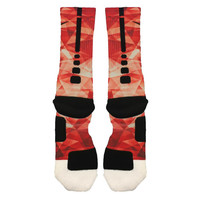 Fast Shipping!! Nike Elite Socks Customized Red Prism Lebron 11