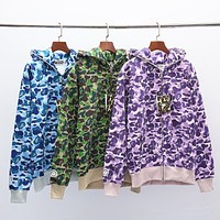 Bape Aape New fashion camouflage hooded long sleeve coat cardigan