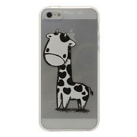 iPhone 5S Case Cartoon Style Lovely Giraffe Pattern Transparent TPU Soft Case for iPhone 5/5S - Default