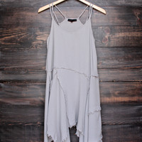 sedona desert tattered up slip dress in grey