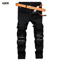 Mens Jeans Designer Leather Patched Jeans With Ankle Zippers