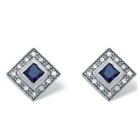 1.02 TCW Princess-Cut Sapphire and Cubic Zirconia Earrings in Platinum over Sterling Silver