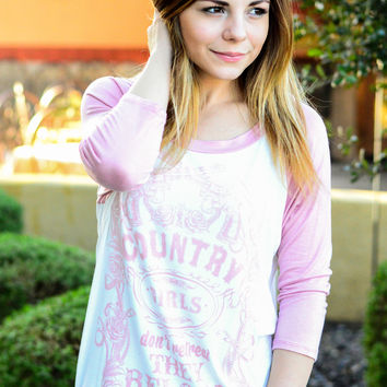 COUNTRY GIRLS RELOAD BASEBALL TEE IN WHITE