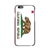 DistinctInk® Hard Plastic Snap-On Case for Apple iPhone - California State Flag