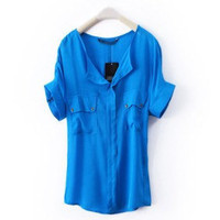 Graceful Round Neck Metal Button Casual Style Shirt