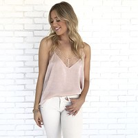 You Make Me Blush Satin Lace Blouse