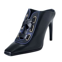 Versace Women's Black Leather High Heel Mules Shoes US 9 IT 39