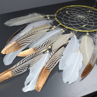 Ivory White Dream Catcher, Gift For Him Her, Native Dream Catcher, Feather Dreamcatcher Decor, Bedroom Nursery Wall Decor