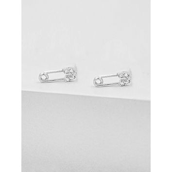 Safety Pin Studs - Silver