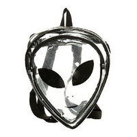 New Ladies Transparent Backpack Fashion Clear Cartoon Alien School Bags PVC Special Package Interest Hip-Hop Leisure Travel Bag