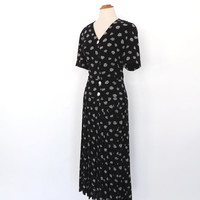 Vintage 1990s does 1940s Black White Rose Floral Maxi Dress Button Up Lawn Dress Summer Dress Boho Romantic Long Dress 30s Day Dress