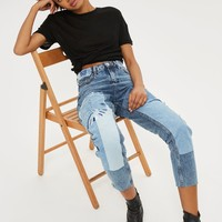 MOTO Tonal Embroidered Mom Jeans