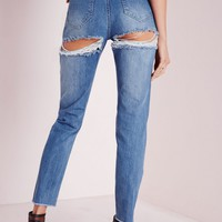 Missguided - Riot High Rise Cheeky Ripped Jeans Blue