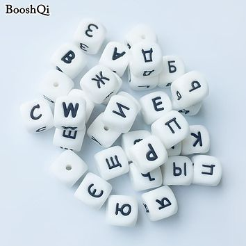 100pcs Silicone Russian Letter Beads for Any Name on Pacifier Chain Clips 12MM Chewing Alphabet Beads for Baby Necklace Teethers
