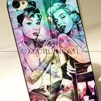 Audrey Hepburn and Marilyn Monroe Tattooed - for iPhone 4/4S case iPhone 5 case Samsung Galaxy S2/S3/S4 case hard case
