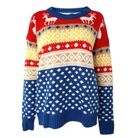 Colorful Christmas Deer and Geometric Striped Jacquard Jumper for Girls (blue)