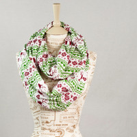 Christmas Infinity Scarf, Ugly Sweater Scarf, Jersey Fair Isle Scarf, Red Green Infinity Scarf, Reindeer