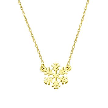 14k Gold Mini Snowflake Necklace on an Adjustable 16-18 in. Chain