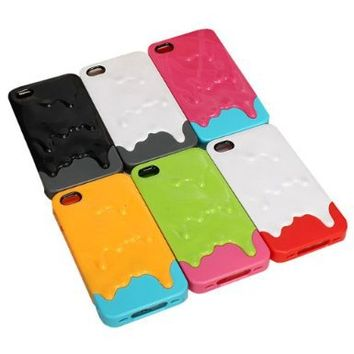 Nicky s Gift 6 Colors Melting Ice Cream Hard Case Cover for Iphone 4 4s Color:yellow and Green, Green and Pink, Blue and Pink, White and Gray, Black and Gray, White and Red