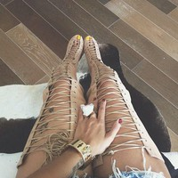 high quality nude suede lace-up thigh high boots 2017 summer cutouts gladiator sandal boots sexy open toe high heel boots
