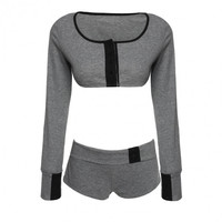 Fashion Sexy Women Sports Set Long Sleeve Crop Tops+Shorts