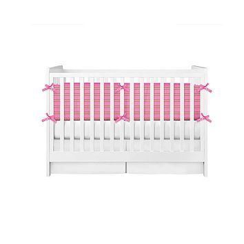 Stripes Lime Green and Pink Crib Bumper