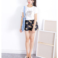 White Sequined Teddy Bear Printed Tee and Black Shorts Set