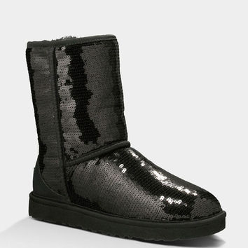 Ugg Classic Short Sparkles Womens Boots Black  In Sizes