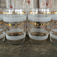 1950's White Frosted and Gold Striped Tumblers, MCM bar glasses, Mid Century Hollywood Regency Mad Men Bar cart glass, Retro Cocktail Glass