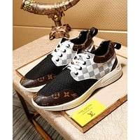 Louis Vuitton LV Trending White Tartan Coffee Print Casual Shoes Sneakers I-OMDP-GD
