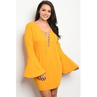 Curvy-Yellow Lace Up Bell Sleeve Dress