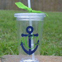 Double wall tumbler with navy anchor and lime green initials