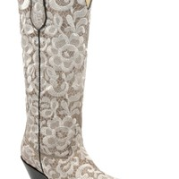 Kd Corral Ladies Embroidery Bone Cowhide Leather Cowgirl Boots