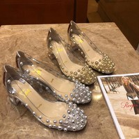 Cl Christian Louboutin Women Pointed Toe Heels Shoes TOP QUALITY GREY GOLD