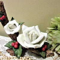 CIJ White Rose Holly Christmas Home Decor Decorations Porcelain Ceramic blm