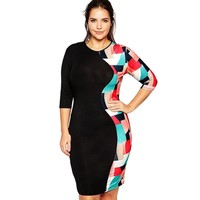 Senchanting Women's Geometry Mosaic Plus Size Midi Dress Bodycon with Sleeves