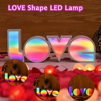 LED Light LOVE Romantic Wedding Standing Letter Lamp Lights Valentine's Day Girlfriend Gifts For Indoor Christmas Decor Supplies