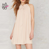 Haoduoyi Womens Summer Loose Pleated Casual Sleeveless Tie Mini Dress Solid Girl Short Sexy Party Elegant Dresses