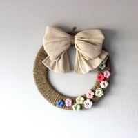 Wall wreath with bow, flowers, colorful door wreath, bow wreath with flowers, Christmas, wreath decor